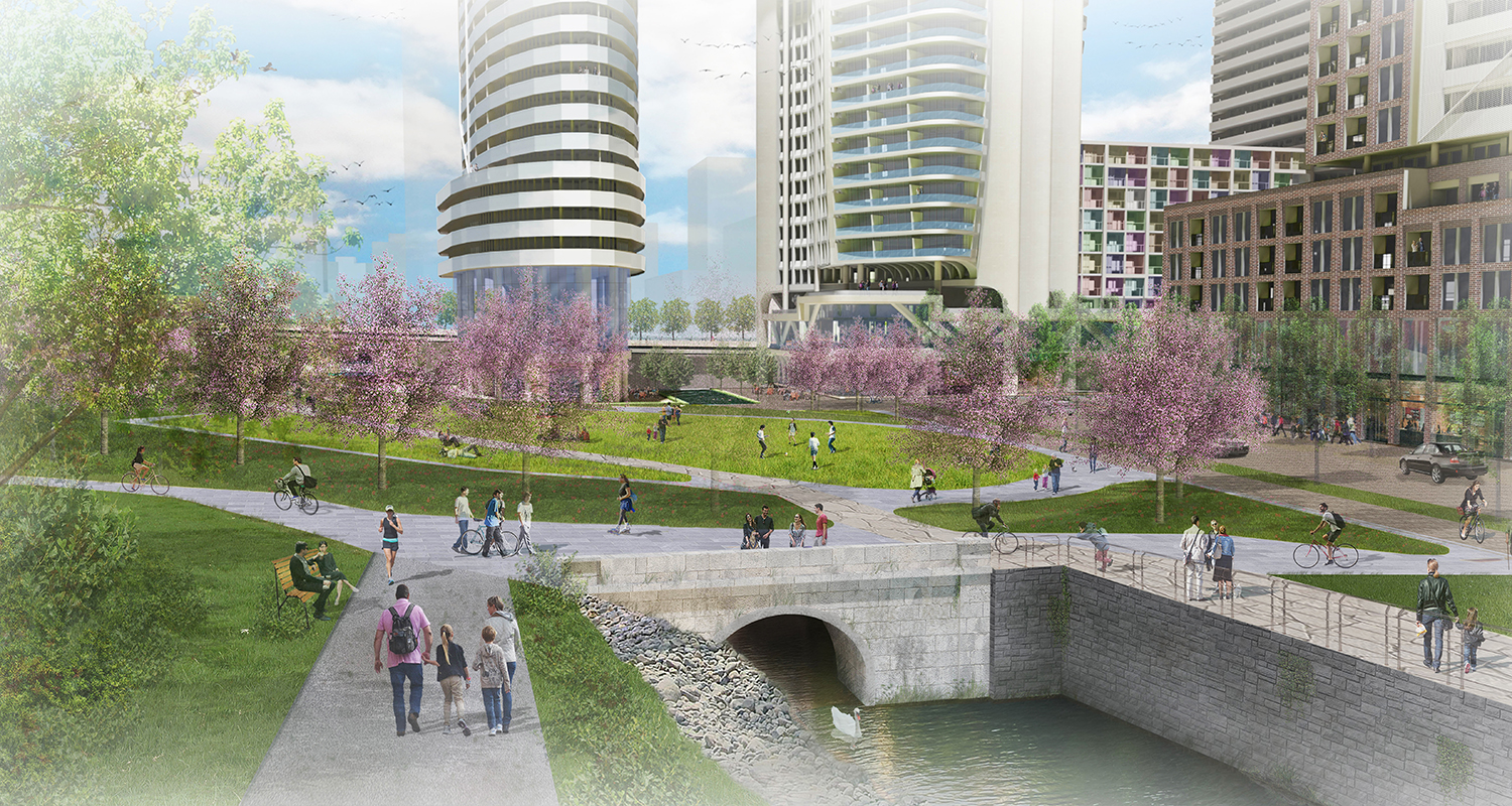 Rendering of proposed park space