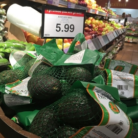 Sale avocados at Massine's Your Independent Grocer on Somerset and Bank Streets. Healthy options are often more expensive than processed products. [Photo © Nadiah Sakurai]