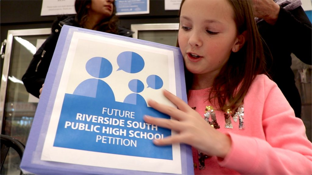 Ten-year-old Rachel Rogers has been thinking a lot about her future: she hopes she'll be able to attend high school in her home neighbourhood, unlike most Riverside South high school students who must travel upwards of 20 km to go to a school that has room for them.