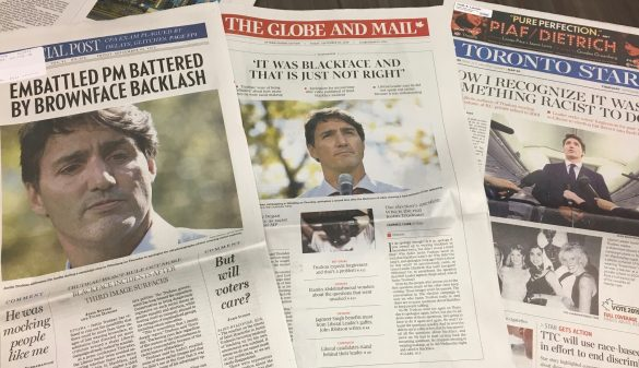 Newspaper headlines respond to Justin Trudeau's black and brown face images