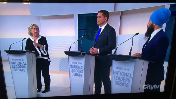 Elizabeth May, Andrew Scheer and Jagmeet Singh at the first national leaders debate for the 2019 election.
