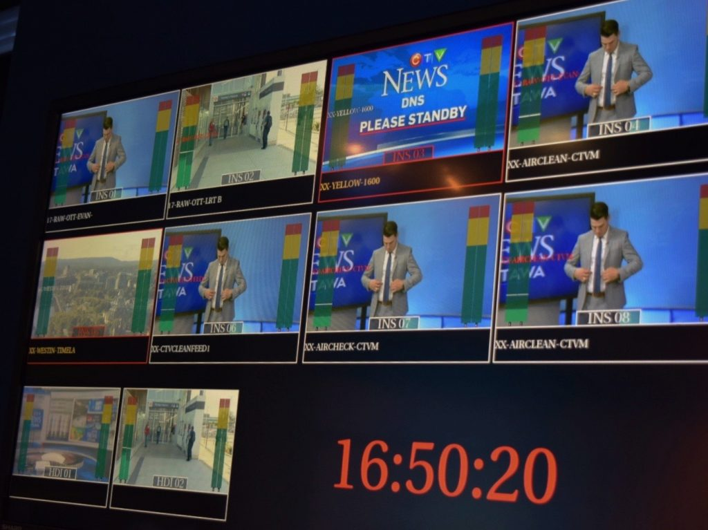 A screen depicts various camera feeds.