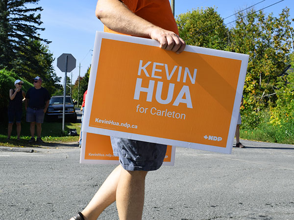 A Kevin Hua for Carleton sign.