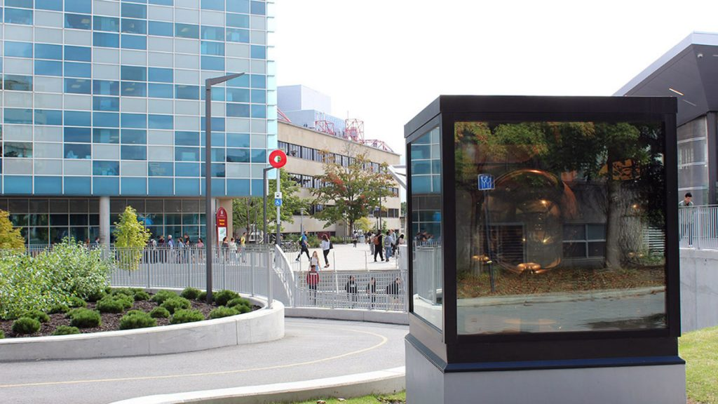 The Sphere Field is a two metre-tall cube outside of uOttawa station meant to represent change.