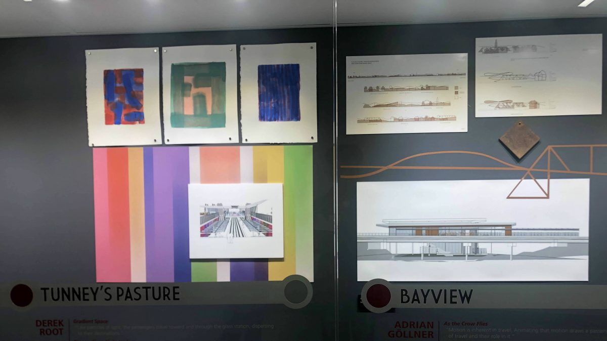 Paintings on display at the rideau LRT station