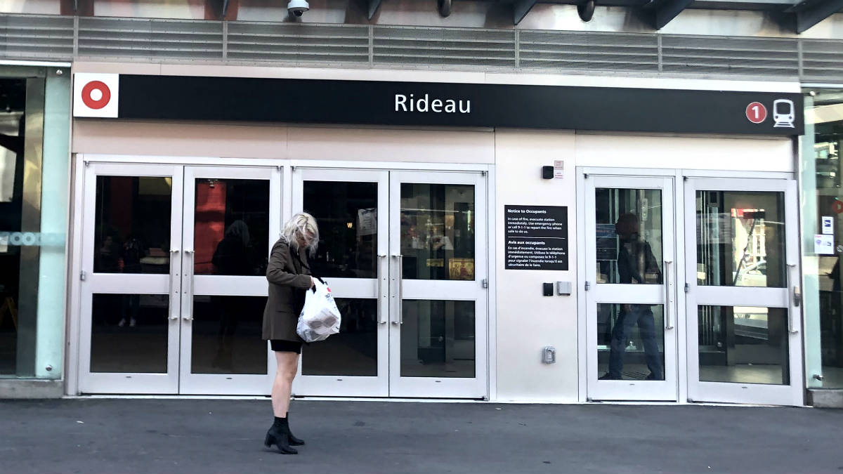outside the rideau LRT station entrance