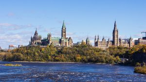Parliament Hill, as seen from the Ottawa River.