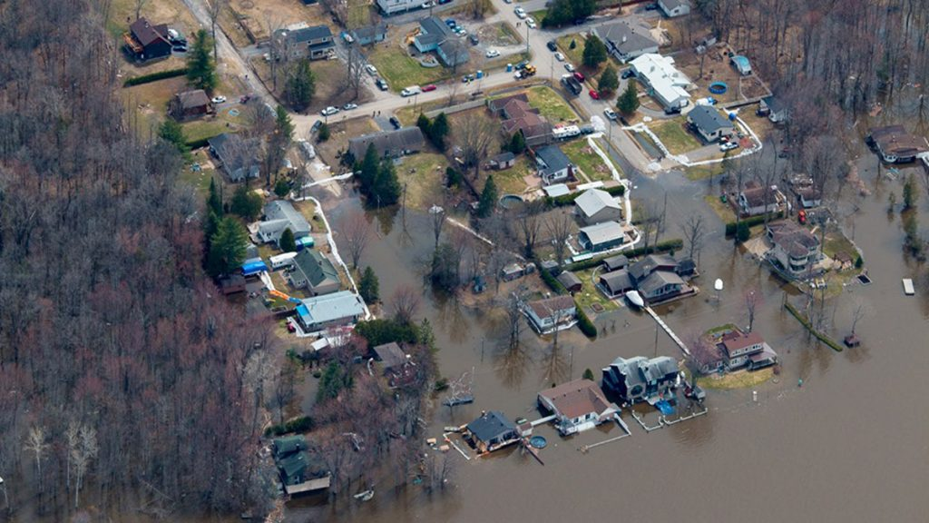 An aerial view of the flood damages in 2019