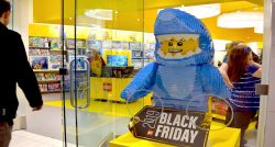 A shopper entering the LEGO store on Black Friday.