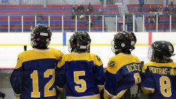 Peewee hockey kids waiting on the sidelines during a game
