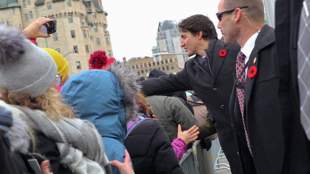 Prime Minister Justin Trudeau met with attendees after the ceremony had finished.