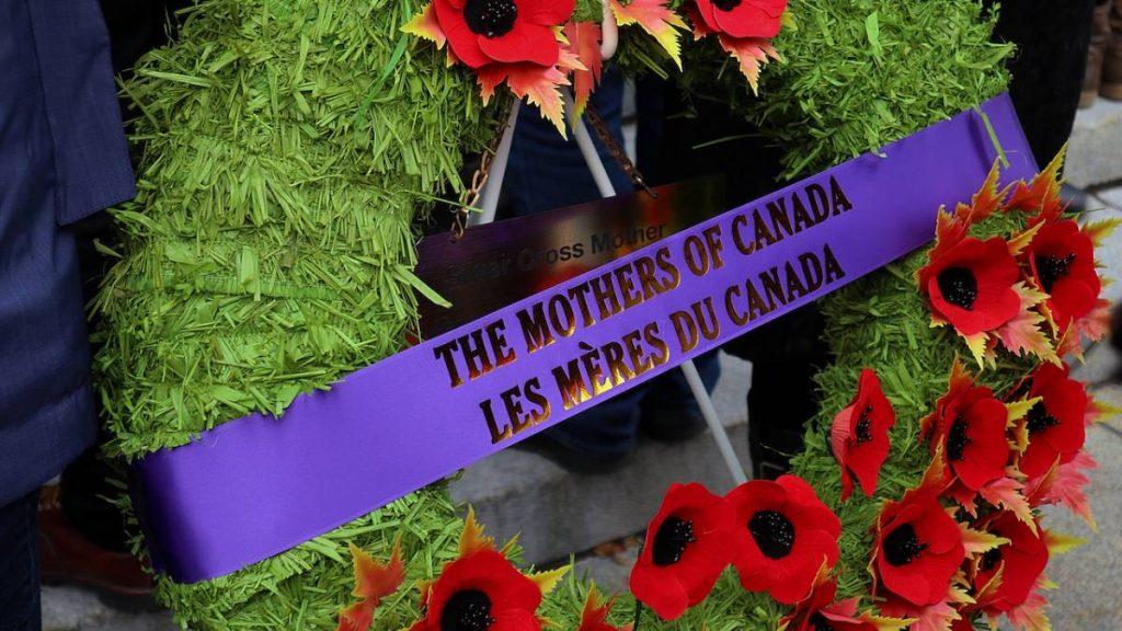 "Wreath entitled ""the mothers of Canada"" laid to represent Canadian mothers who have lost children in the wars."