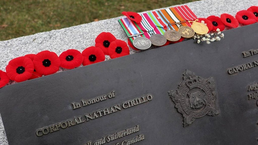 Memorial for Corporal Nathan Cirillo covered in poppies.