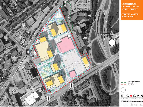 RioCan's concept master plan for the Lincoln Fields redevelopment project.