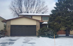 A 2-story house with yellow siding, a dark brown garage door and evergreen trees in the front yard. It is winter and there is snow on the ground.