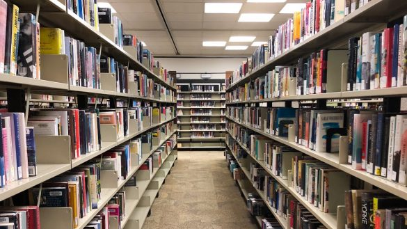 Books line the shelves at Ottawa's main library on Metcalfe