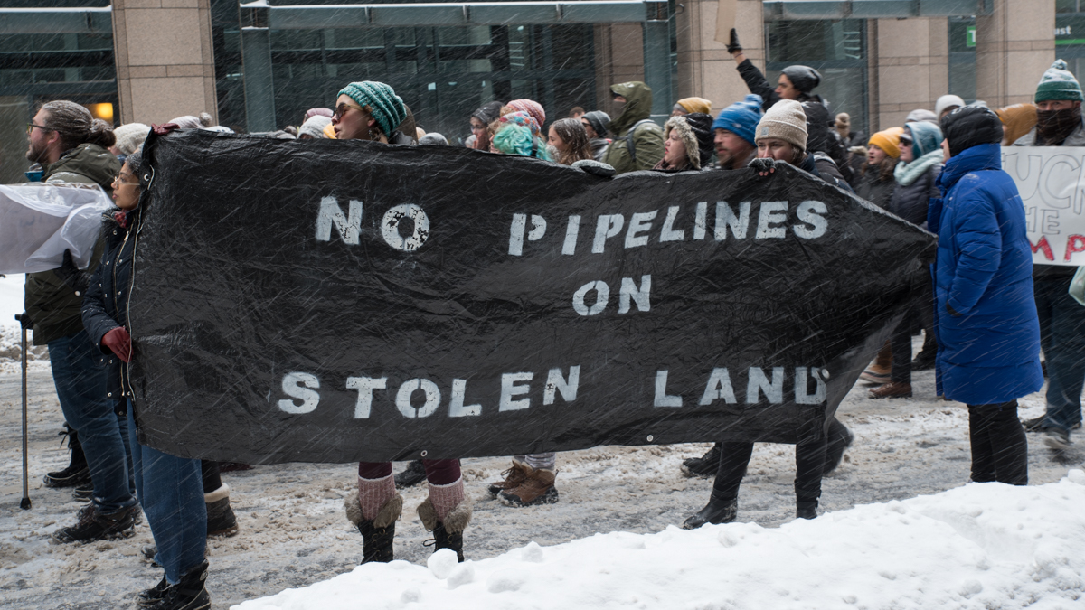 """No Pipelines on Stolen Land"" sign"