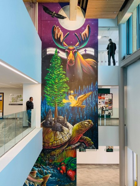 An Indigenous painting at Algonquin College was vandalized with yellow paint on Jan. 28
