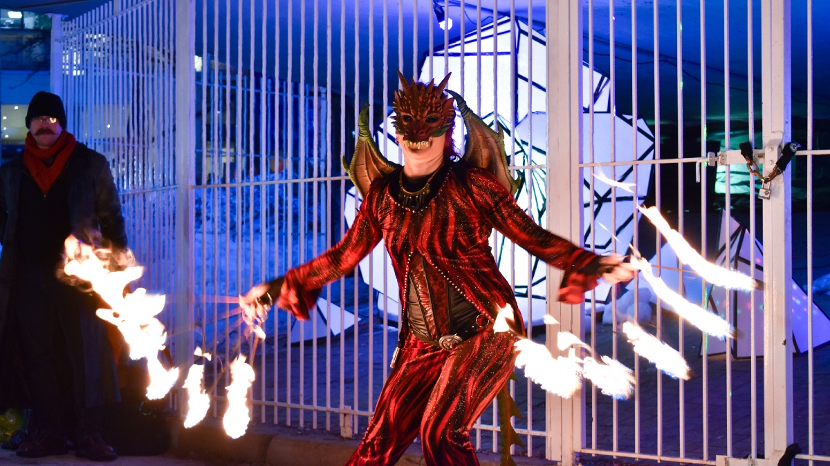Winterlude opens with a fire show and a colourful piece of public art