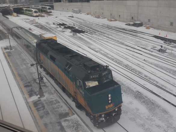 Via Rail train leaving Union Station