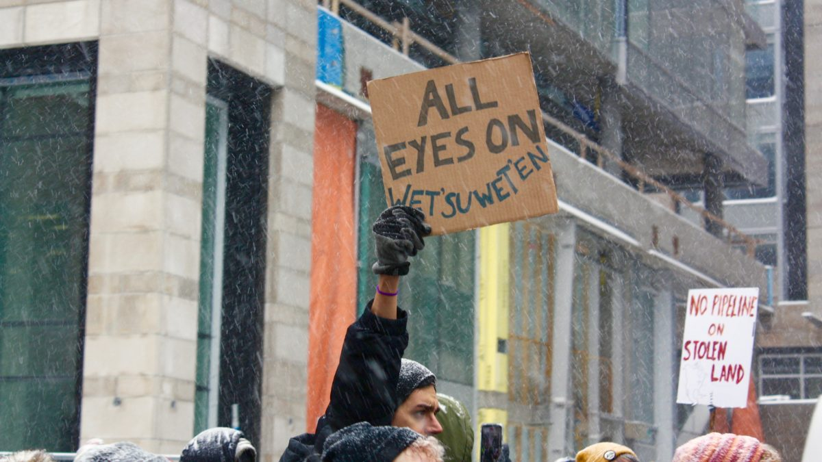 "A hand in the middled of a crown holds up a cardboard, hand-written sign that reads ""all eyes on wet'suwet'en"""