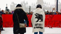 "Photo is taken from behind. Two women stand in front of a crowd, behinda bright red banner that says ""RCMP off Wet'suwet'en land"". The girl on the right wears a canvas cape that says ""no pipelines"" with a frog on it."
