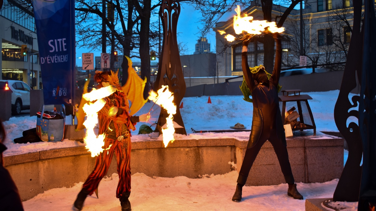 Two dancers launch Winterlude with their fire performance Friday evening. [Photo © Georgia Andromidas]