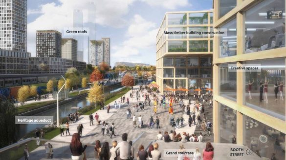 An artistic rendering of what the Lebreton flats redevelopment could look like. We see an