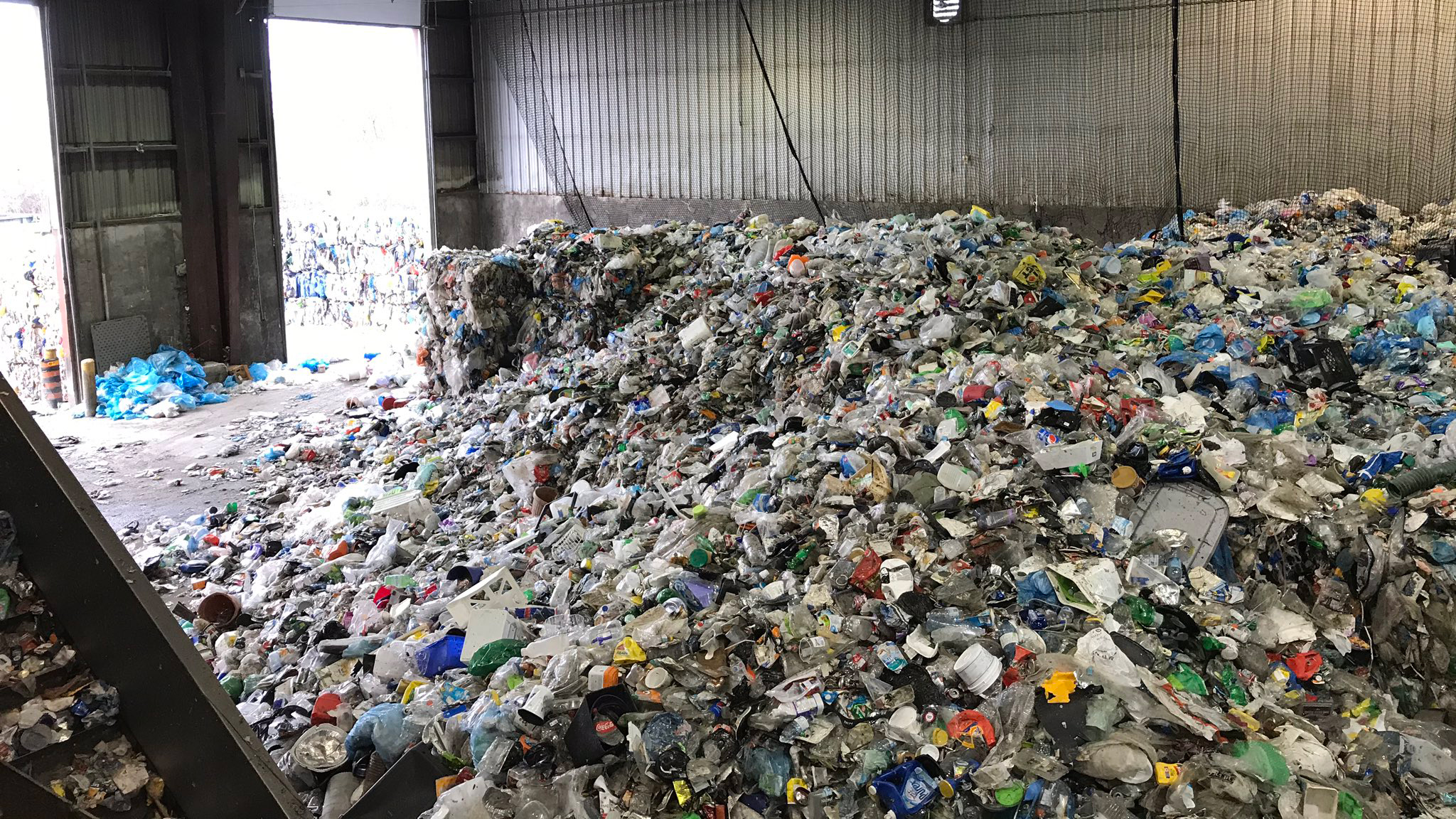 A pile of recycling at Cascades Recycling Facility here in Ottawa.