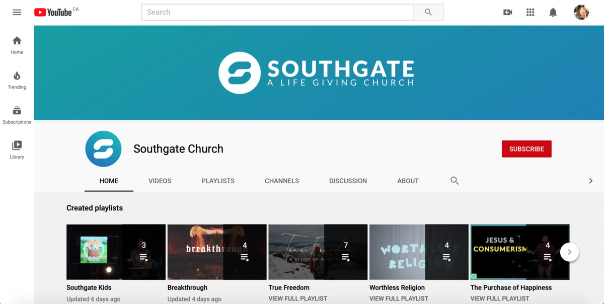 "A screenshot of the Southgate Church YouTube channel displaying playlists ""Southgate Kids"", ""Breakthrough"", ""True Freedom"", ""Worthless Religion"", and ""The Purchase of Happiness."""