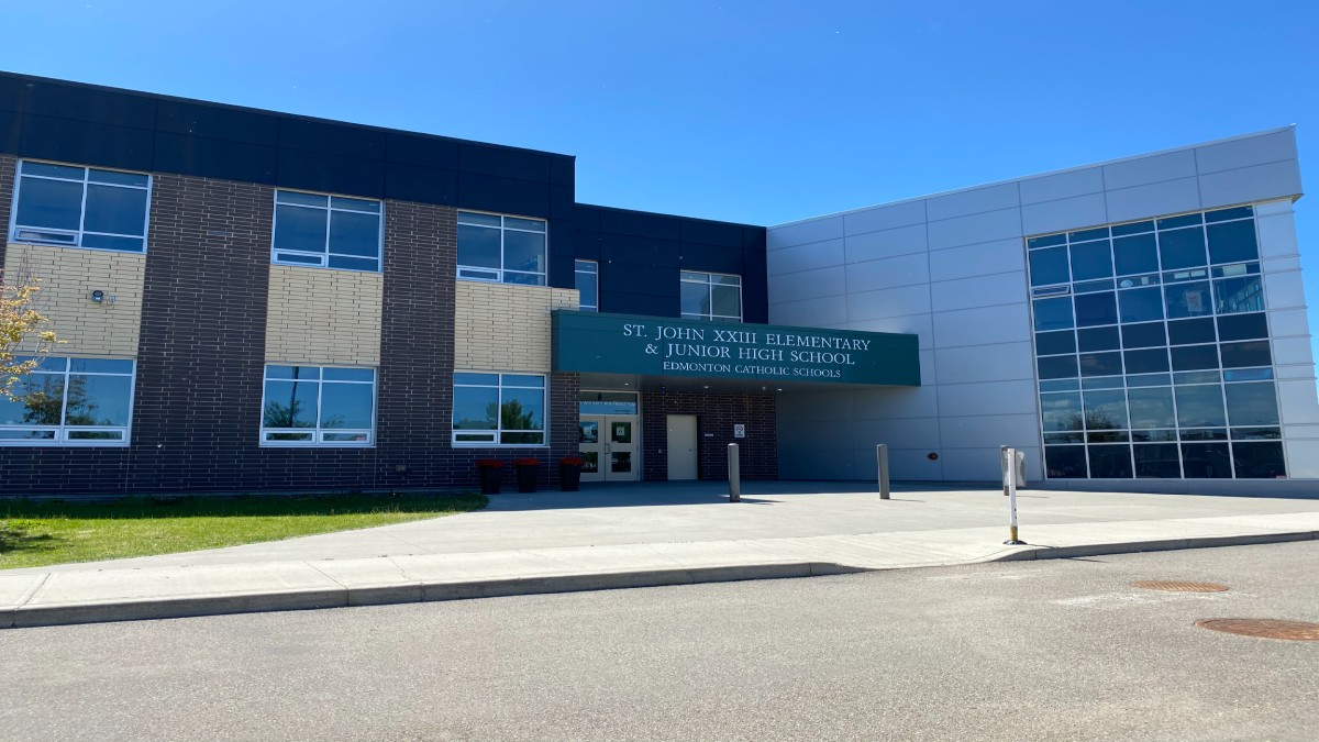 THe front of St. John Elementary School in Edmonton