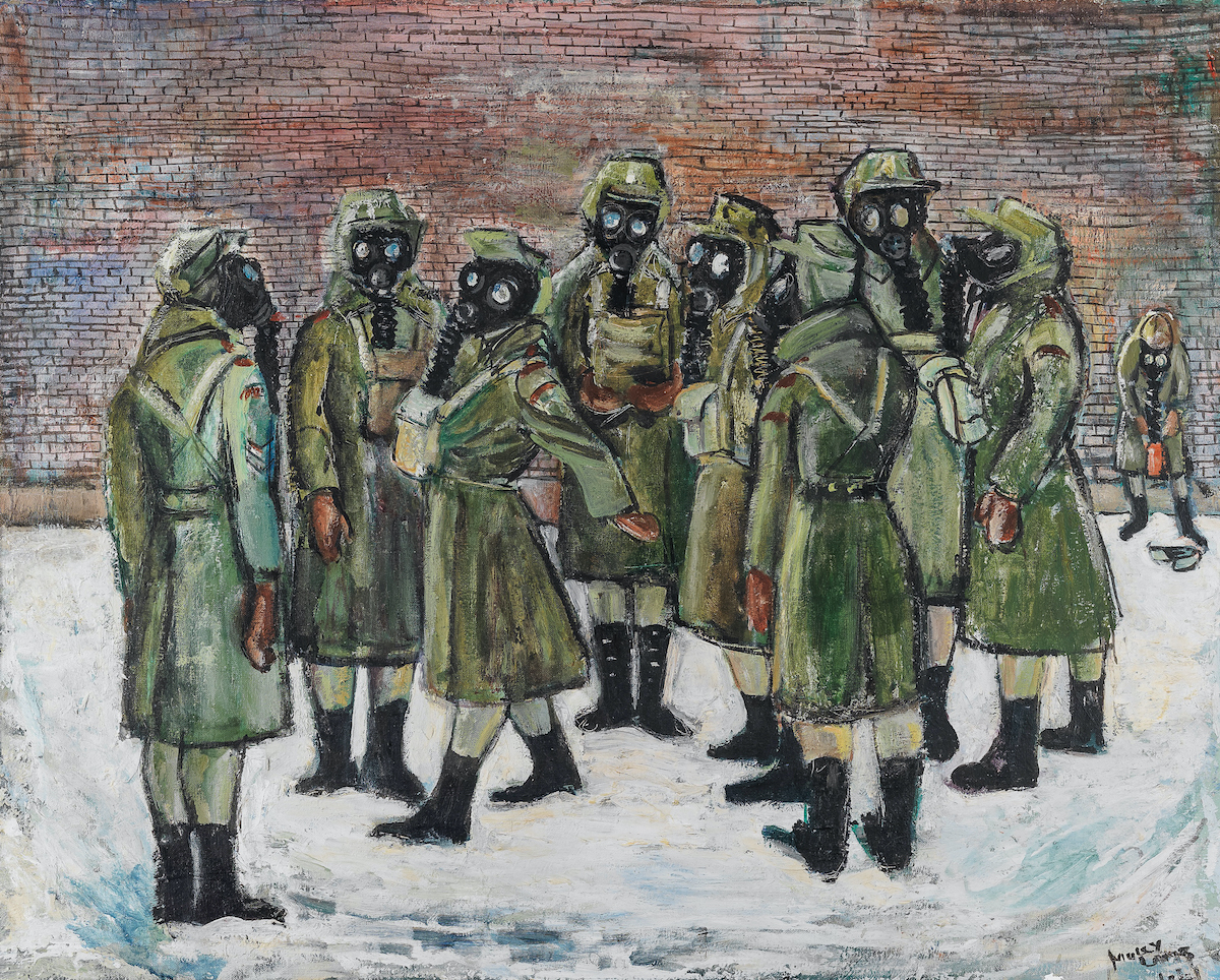 Various women drawn in green uniforms wearing gas masks
