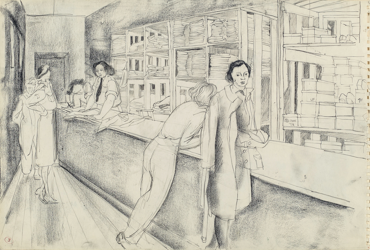 a sketch of women in a mail box room