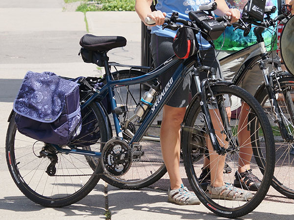 Two bikes with air pollution monitors attached to the handlebikes.