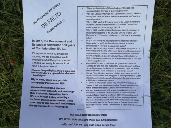 Pamphlet created by The Canadian Revolution. It promotes the group's belief that the federal government and the Constitution are illegitimate. Picture by Randy Boswell.