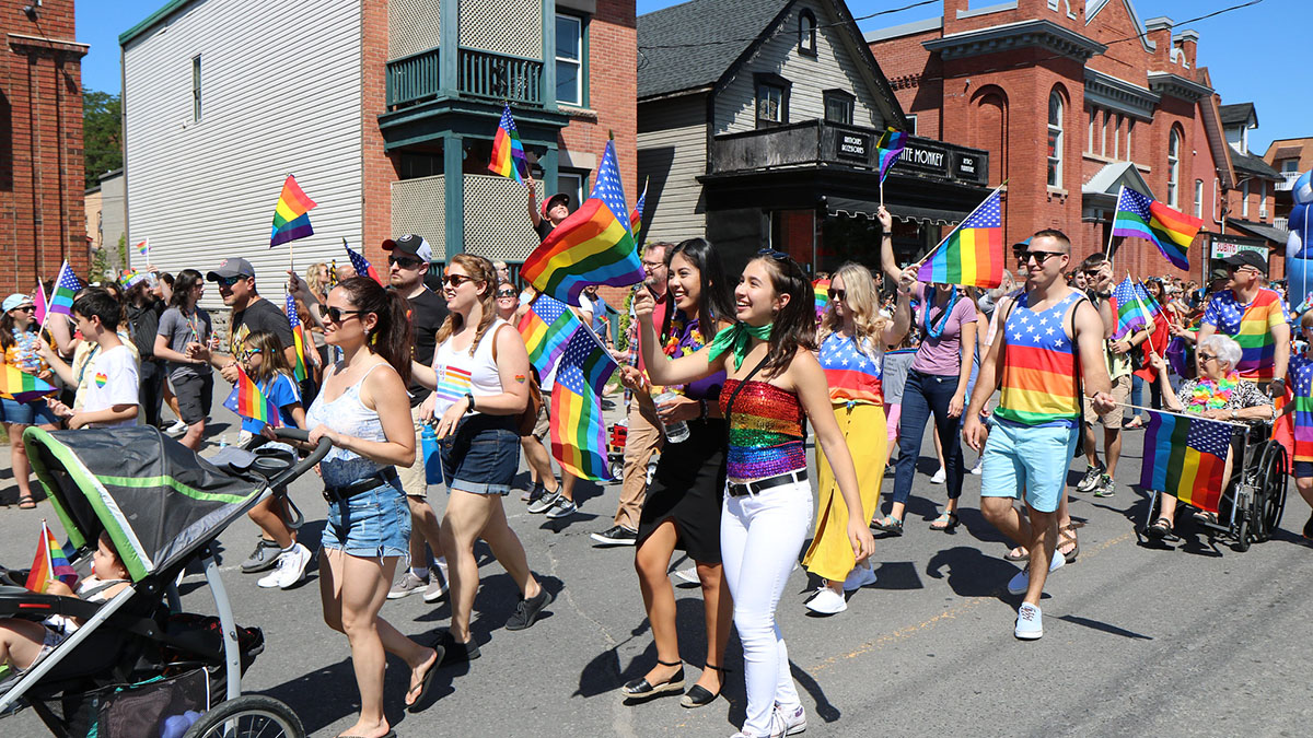 People participating in the 2019 Pride parade