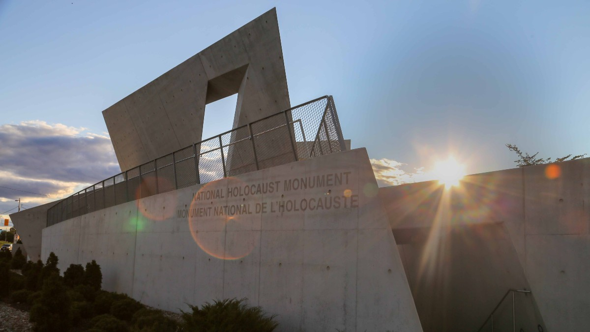 The National Holocaust Memorial in Ottawa at sunset