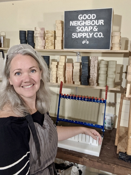 Meredith Newberry with her at home soap workshop