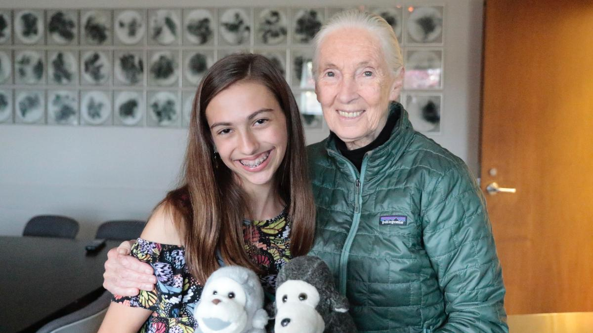 Genevieve Leroux and Jane Goodall