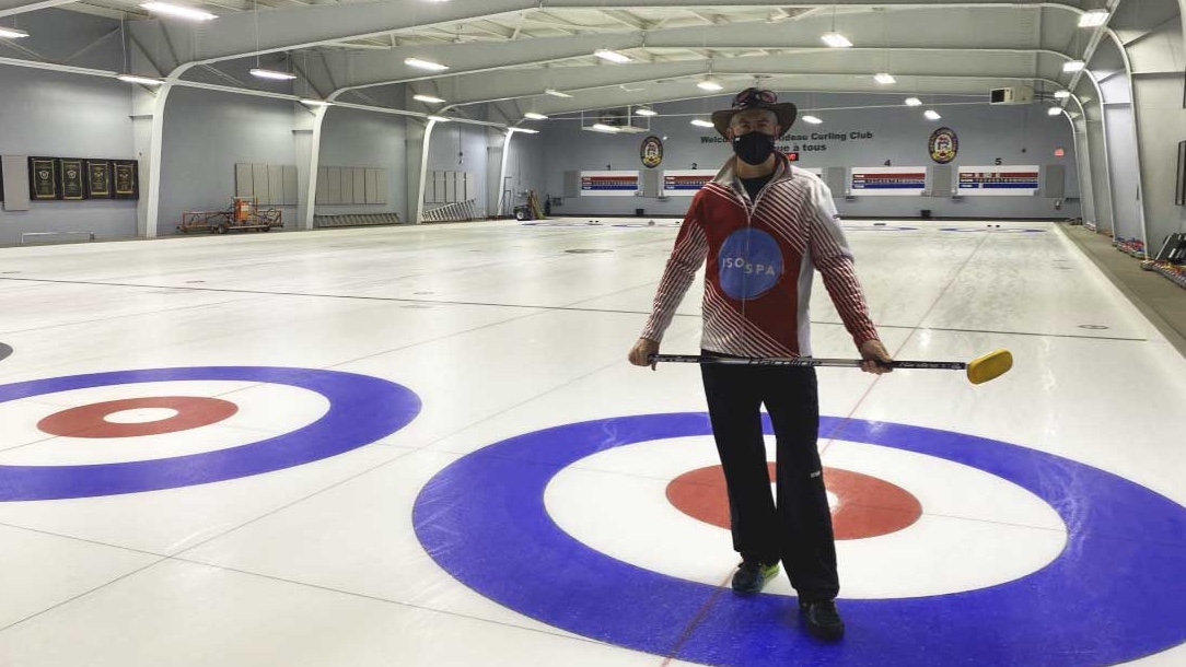 Rick Collins on the ice at Rideau Curling Club after a pro-longed offseason due to COVID-19