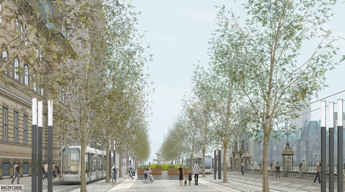 An illustration by McRobie Architects of the ideal finished rail loop on Wellington Street. The road in front of the Parliament Buildings is clear of cars, instead filled with trees, pedestrians. and two new trains which will run to Gatineau and back.