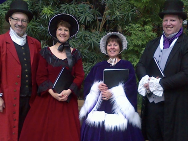 Image of a quartet of Dickens Carolers Ottawa in their Dickens-Period clothing