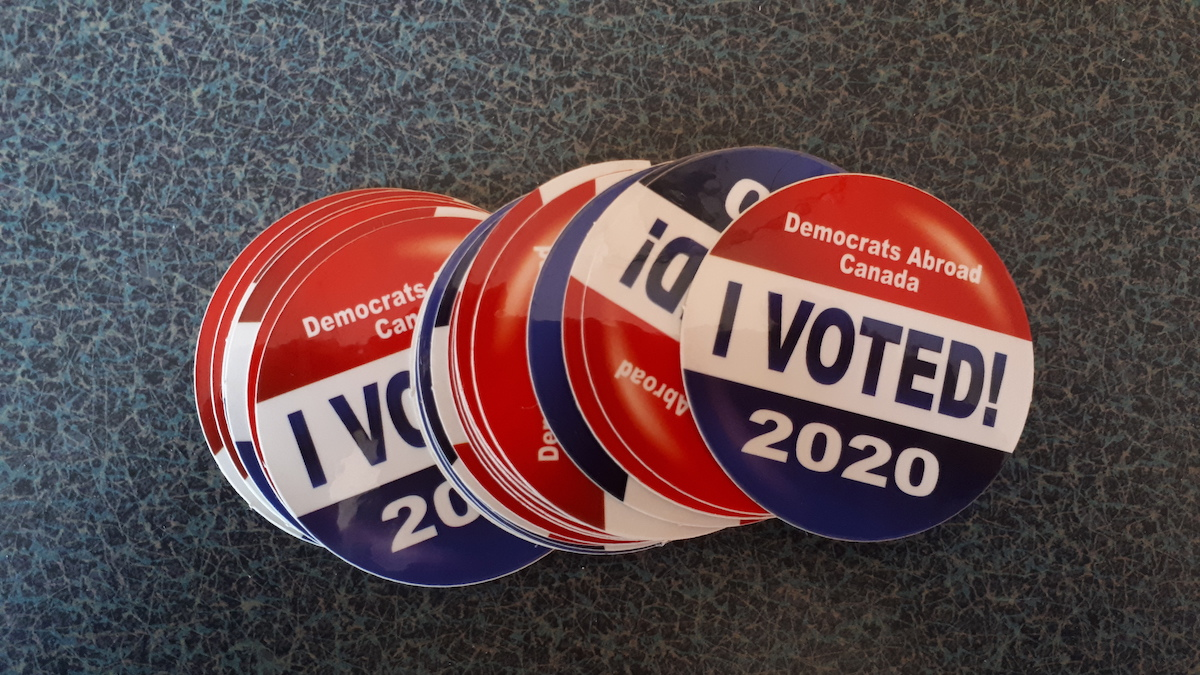 I voted stickers Democrats Abroad Canada