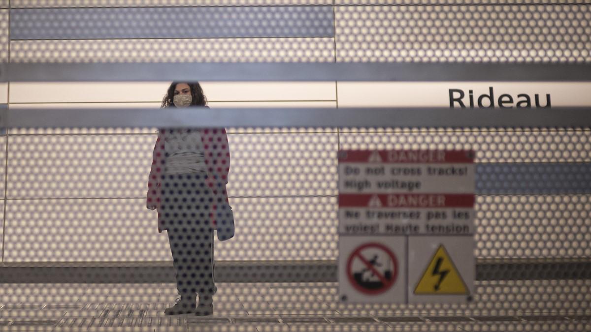 A transit riders awaits Light Rail Transit at Rideau Station