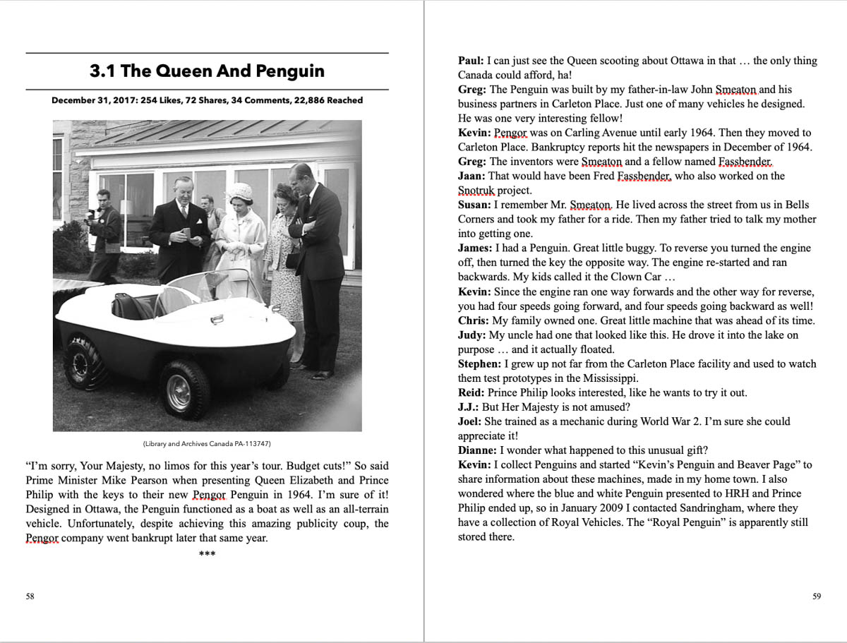 The Queen is presented with a Pengor Penguin vehicle in 1964.