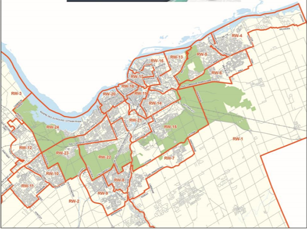 A map of the ward boundaries in Ottawa with Ward's 1 and 2 being the largest at the bottom of the photo.