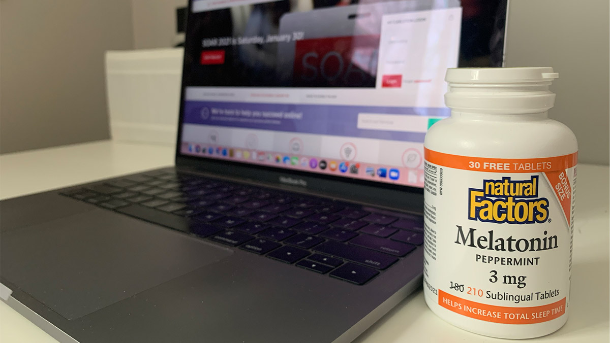 Show screen and a melatonin supplement