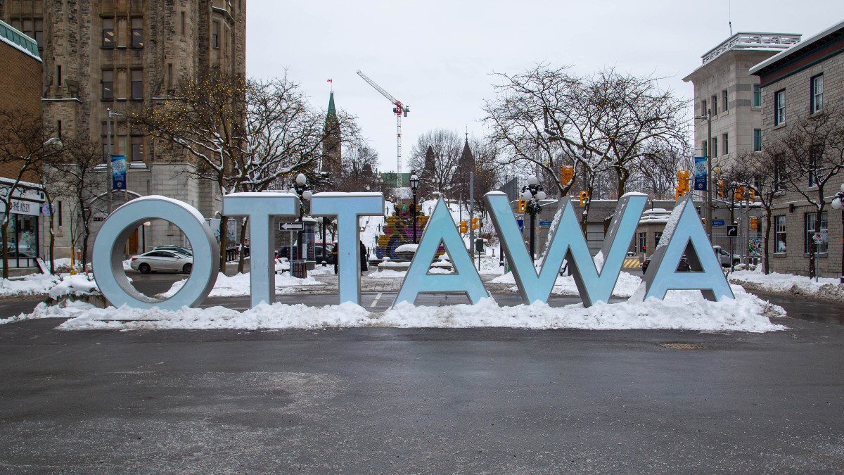 Ottawa sign in the winter.