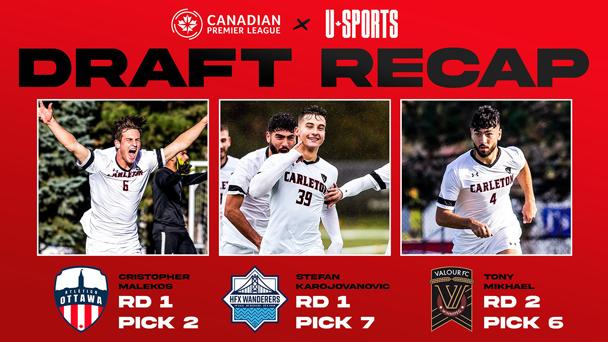 Three Carleton soccer players taken in 2021 CPL-U Sports Draft