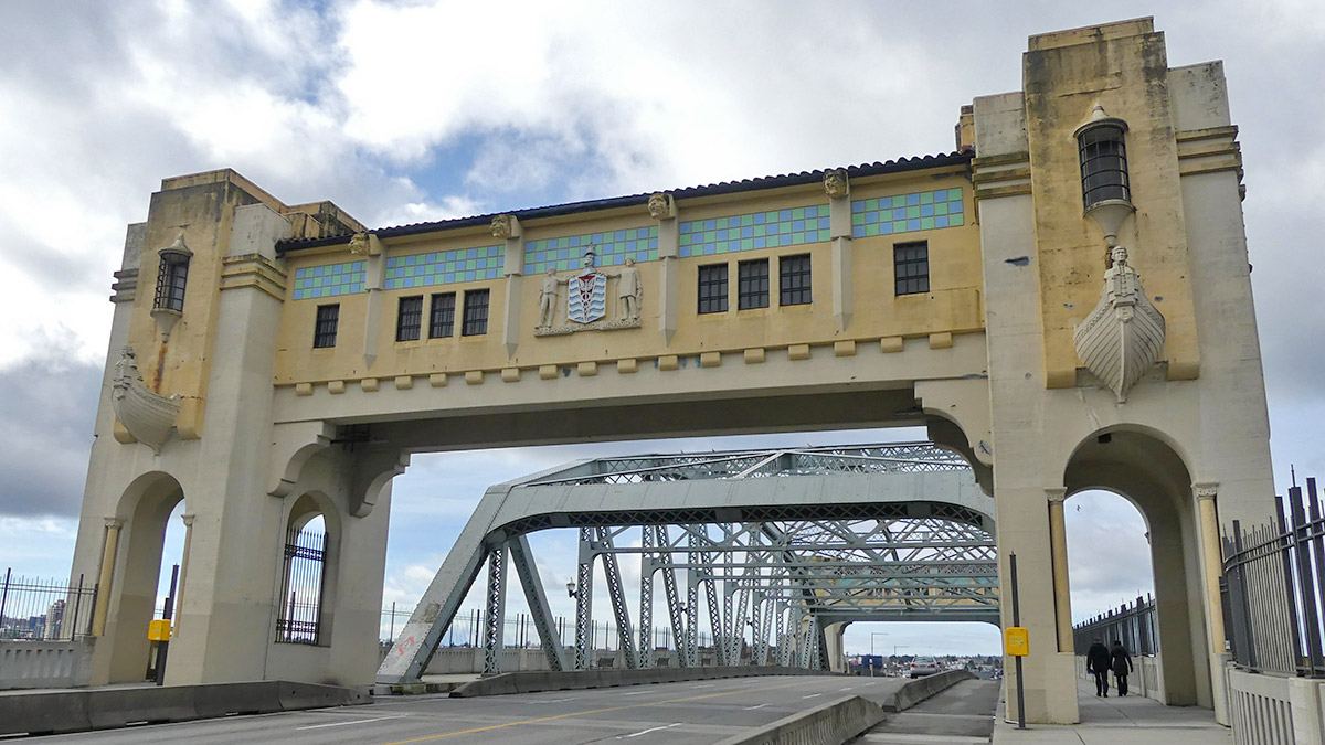 Eastern archway of the Burrard Street Bridge on a cloudy day